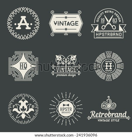 Retro design insignias logotypes set 4. Vector vintage elements. - stock vector