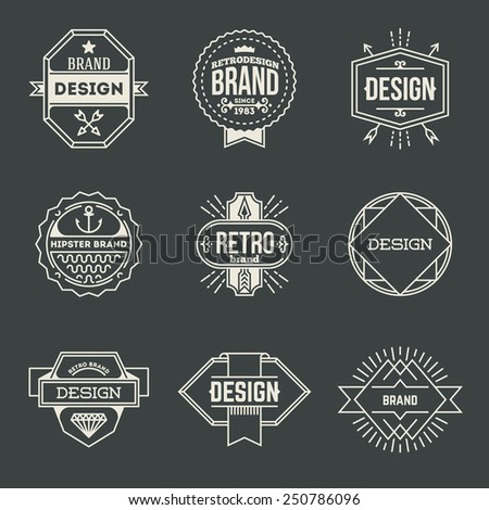 Retro design insignias logotypes set 13. Vector vintage elements. - stock vector