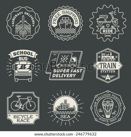 Retro design insignias transport logotypes set. Vector vintage elements.  - stock vector