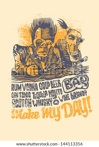 "Retro design ""Make May Day!"" for bar poster or t-shirt print with two drunkards, hand-written fonts and textures. vector illustration. grunge effect in separate layer. - stock vector"