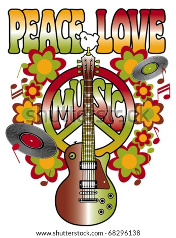 Retro design of a guitar, peace symbol and dove with the words Peace, Love and Music. Type style is my own creation. Elements on layers for easy editing.
