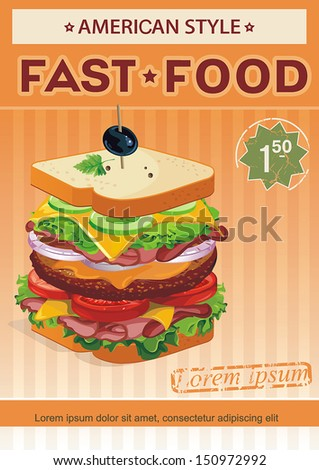 Retro Design of menu. Vector Sandwich illustration - stock vector