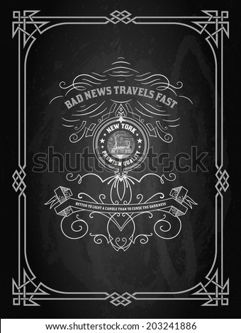 Retro design over black board - stock vector