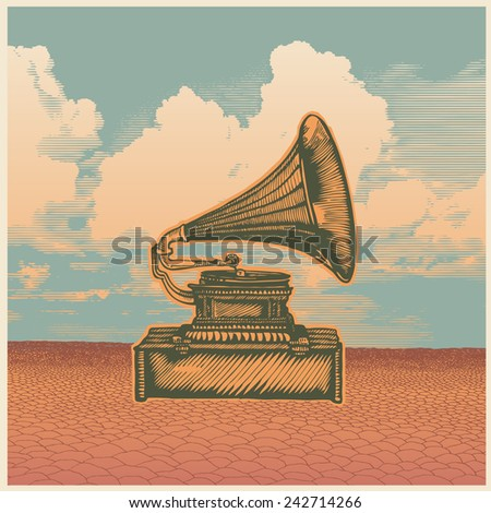 Retro design poster with gramophone, desert and sky. engraving style. vector illustration. - stock vector