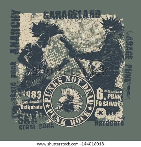 Retro Design Punk Not Dead Tshirt Stock Vector 144016018 ...