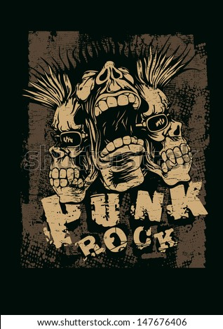 """Retro design """"Punk Rock"""" for t-shirt print, with screaming punk head, grunge fonts and textures. vector illustration. grunge effect in separate layer.  - stock vector"""