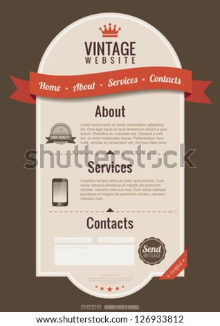 Retro design website template for computer & tablet pc. Vintage web style.  Vector. Editable. HTML5 design. - stock vector
