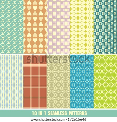 Retro different vector seamless patterns (tiling). Set of monochrome geometric ornaments.