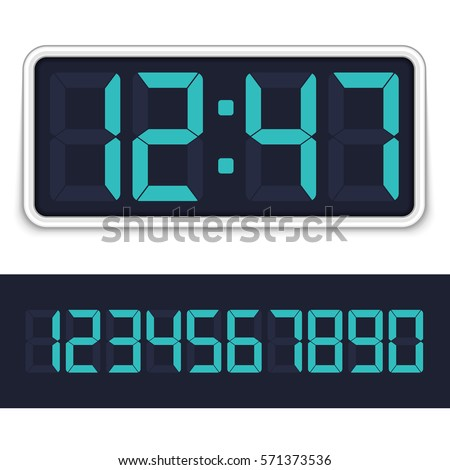 Retro digital alarm clock with blue numbers isolated on white background. Vector illustration EPS 10.