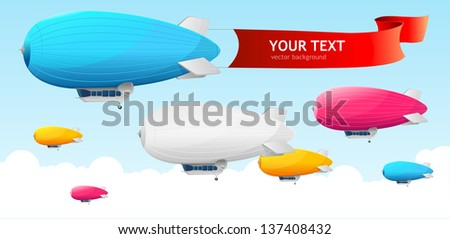Retro dirigible and flags background. Vector illustration - stock vector