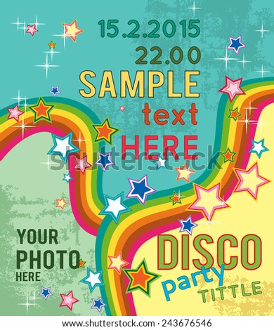 Retro disco party flyer or poster for musical event. Design layout template.  - stock vector