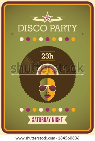 Retro disco party poster design. Vector illustration. - stock vector