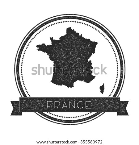 Retro distressed insignia with France map. Hipster round rubber stamp with country name banner, vector illustration - stock vector