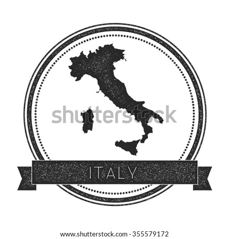 Retro distressed insignia with Italy map. Hipster round rubber stamp with country name banner, vector illustration - stock vector
