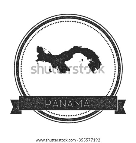 Retro distressed insignia with Panama map. Hipster round rubber stamp with country name banner, vector illustration - stock vector
