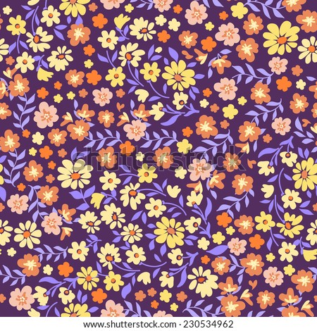retro ditsy  seamless floral print - stock vector