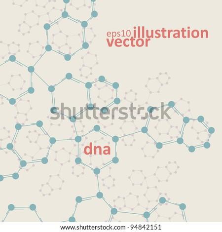 Retro dna, vintage molecule, cell illustration eps10 - stock vector