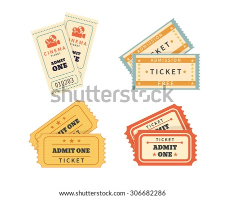 Retro double tickets set. Temlates for cinema and other events. Text outlined - stock vector