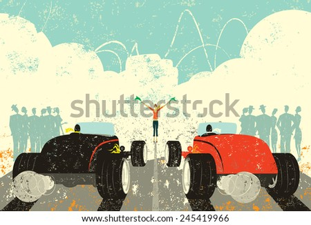 Retro Drag Race A retro hot rod drag race about to start with a large crowd watching.  - stock vector