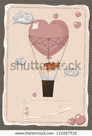 retro drawing of the traveler by a balloon over the world - stock vector