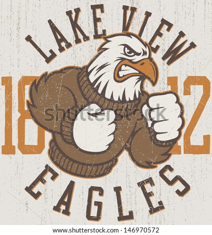 "Retro ""Eagles"" athletic design complete with eagle mascot vector illustration, vintage athletic fonts and matching textures (all on separate layers, of course). - stock vector"