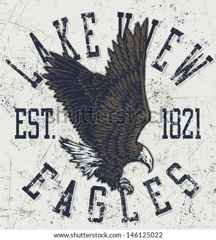 "Retro ""Eagles"" athletic design complete with retro eagle mascot vector illustration, vintage athletic fonts and matching textures (all on separate layers, of course).  - stock vector"