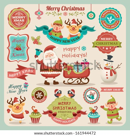 Retro elements for Christmas designs - stock vector