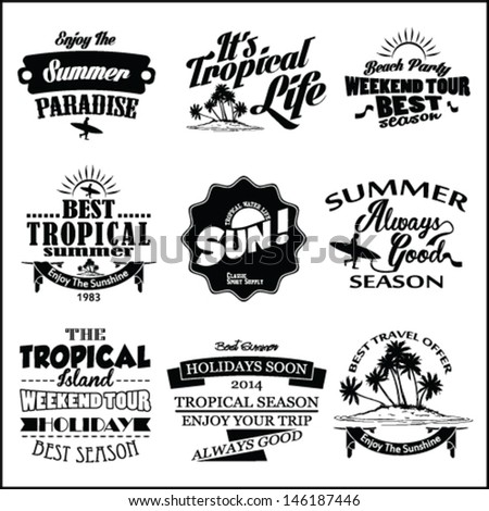 Retro elements for Summer calligraphic designs label , Retro ornament set, tropical vector elements,sea, sun, sand vector set.surfer vector set.vintage surf elements.vector retro surf label set. - stock vector