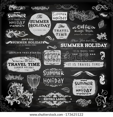 Retro elements for Summer calligraphic designs | Vintage ornaments | All for Summer holidays | tropical paradise, sea, sunshine, weekend tour, beach vacation, bon voyage, adventure labels | vector set - stock vector