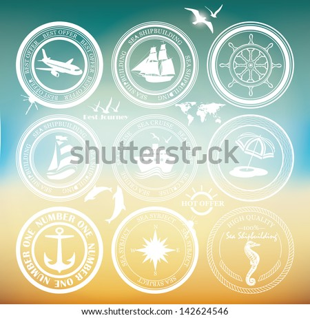 Retro elements for Summer designs. Vintage stamps. Vintage air and cruise tours labels and badges. - stock vector