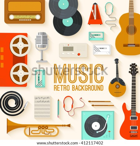 Retro equipment music set circle infographics template concept. Icons design for your product or design, web and mobile applications. Vector flat with long shadow illustration on blue background - stock vector