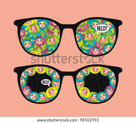 Retro eyeglasses with crazy dolls reflection in it. Vector illustration of accessory -  isolated sunglasses.