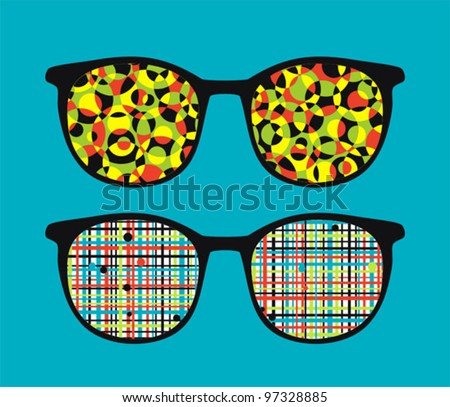 Retro eyeglasses with crazy pattern reflection in it. Vector illustration of accessory.