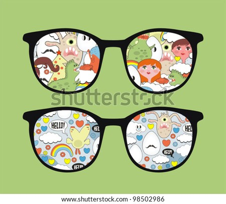 Retro eyeglasses with disorder reflection in it. Vector illustration of accessory -  isolated sunglasses.