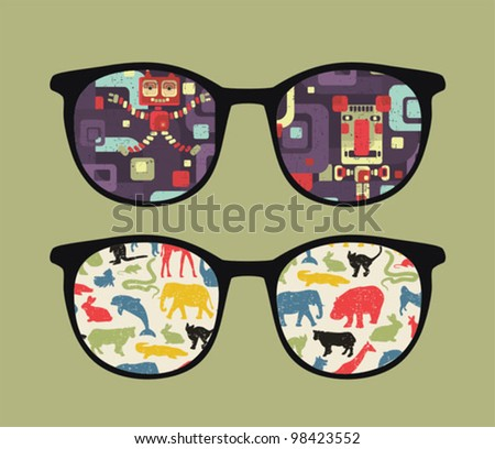 Retro eyeglasses with old school reflection in it. Vector illustration of accessory -  isolated sunglasses. - stock vector