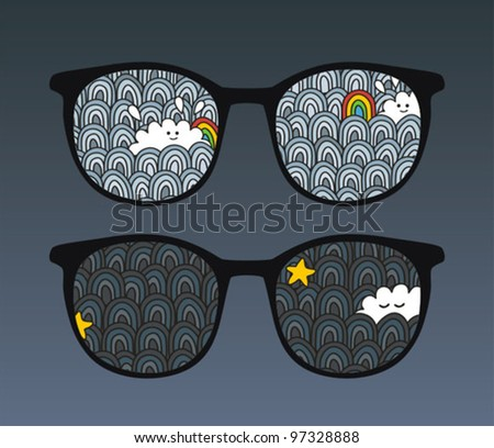 Retro eyeglasses with sky reflection in it. Vector illustration of accessory. - stock vector