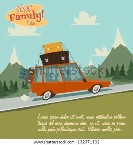 Retro family illustration - stock vector