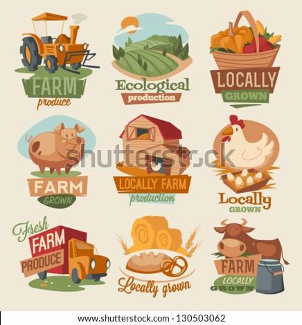 Retro farm emblems - stock vector