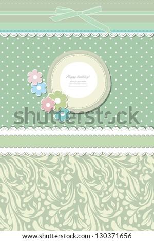 Retro fashion floral greeting card vector eps 10 - stock vector