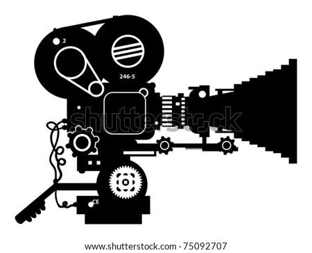 Retro film cinema camera, vector illustration - stock vector