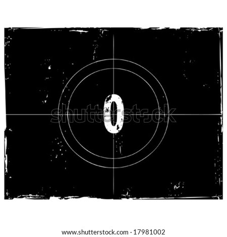 Retro film countdown vector illustration. Number 0 (see similar vectors in my profile) - stock vector