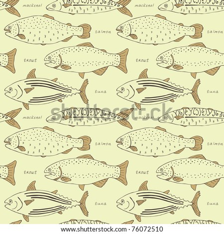 retro fish seamless background - stock vector