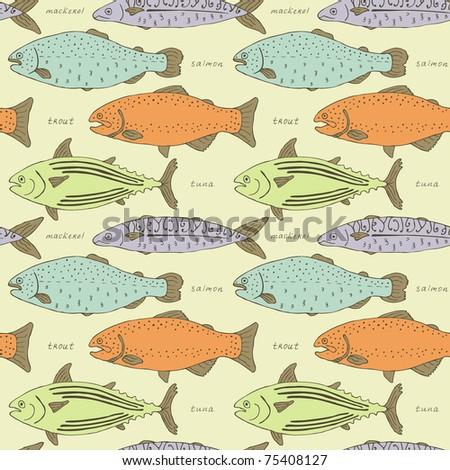 retro fish seamless pattern - stock vector