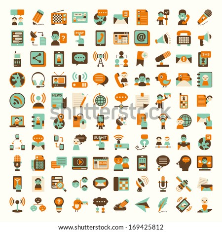 Retro flat communication icons set - stock vector