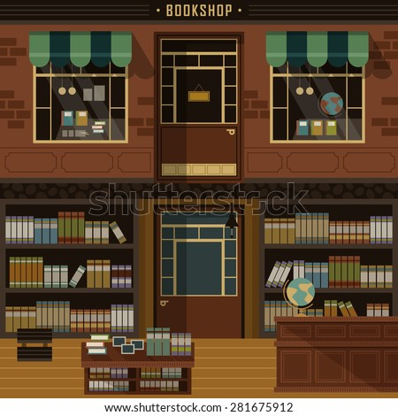 Retro Flat Design Of Bookshop Facades And Interior Scene