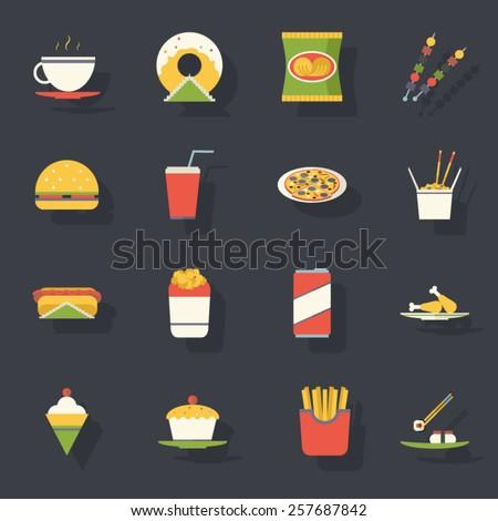 Retro Flat Fast Food Icons and Symbols Set Vector Illustration - stock vector