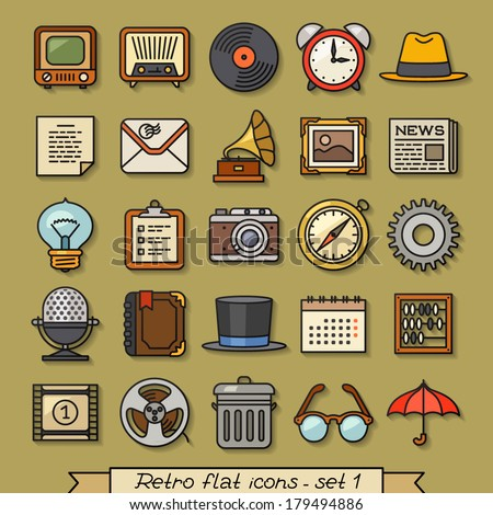 Retro flat line icons - set 1 - stock vector