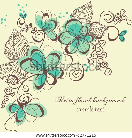 Retro floral background - stock vector