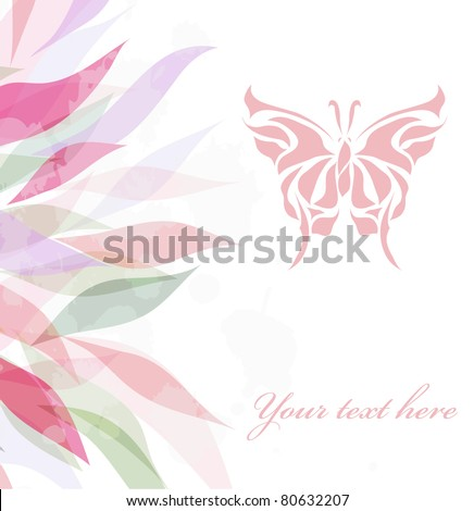 Retro floral background for card (vector version eps 10) - stock vector