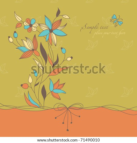 Retro Floral Background Themes Wedding Love Stock Vector 71490010